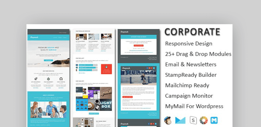 Corporate  mailchimp newsletter templates - free download with Envato Elements