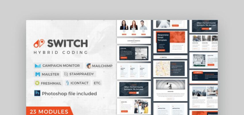 Switch mailchimp newsletter template