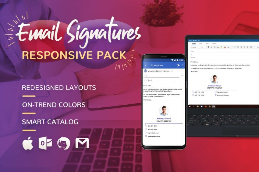 Find creative email signatures on Envato Elements