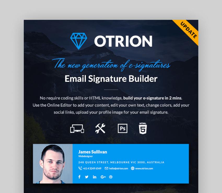 get unique email signatures with Otrion