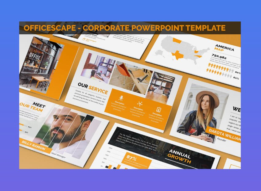 officescape corporate theme powerpoint