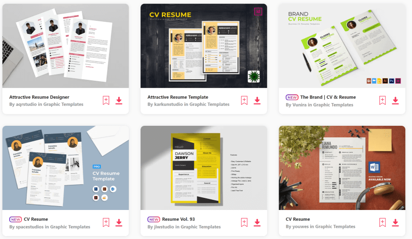 Download stylish CV templates from Envato Elements
