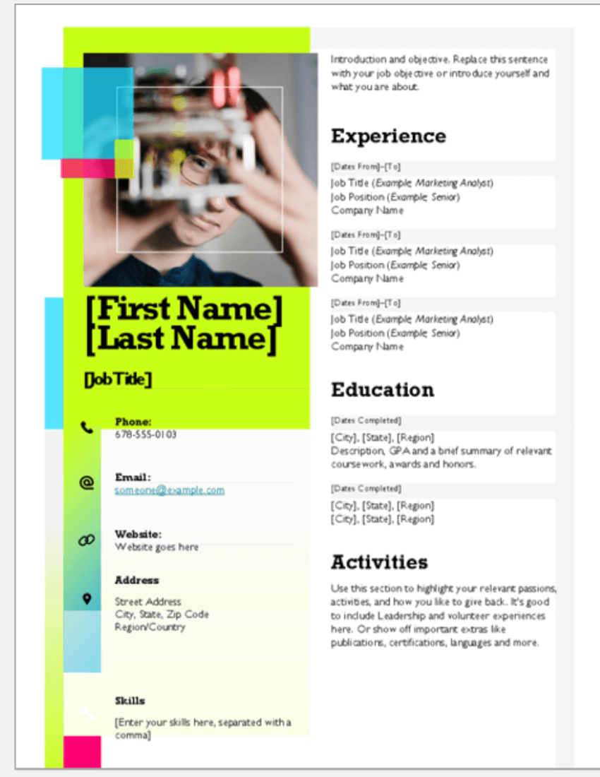 Sticky Note - attractive resume templates free download word