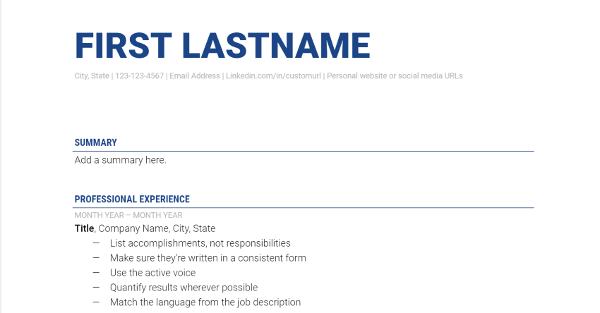 The Muse Google Docs resume template free