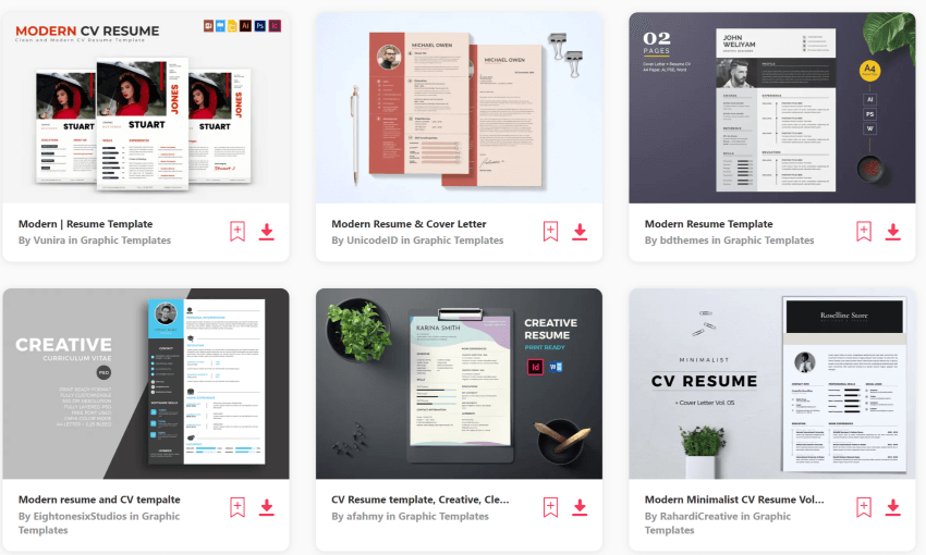 Find clean CV designs on Envato Elements
