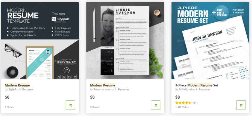 Find modern resume styles on GraphicRiver