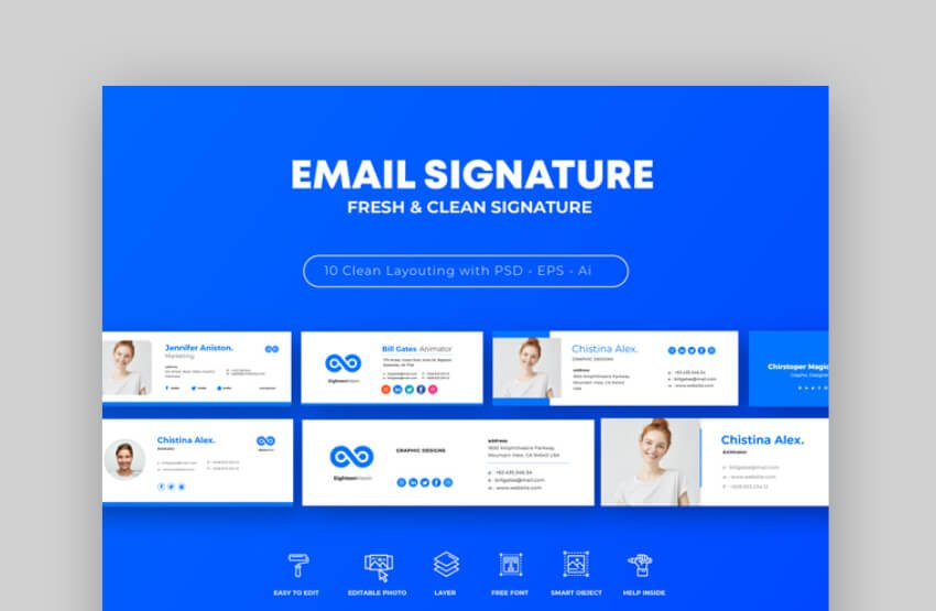 blue html email signature template