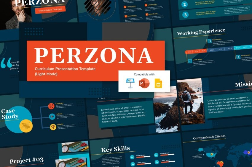 perzona dark powerpoint presentation about myself templates