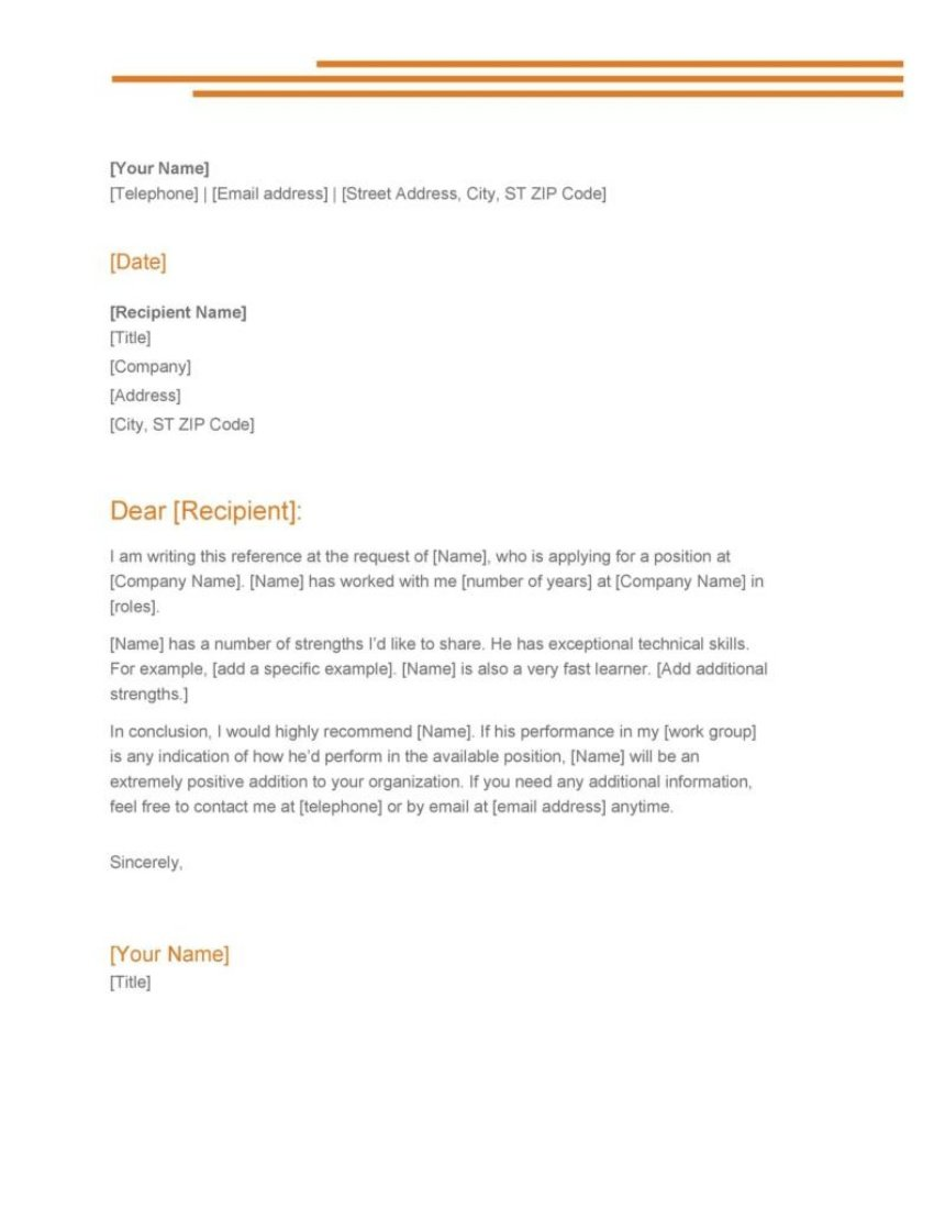 free microsoft word letter of recommendation template
