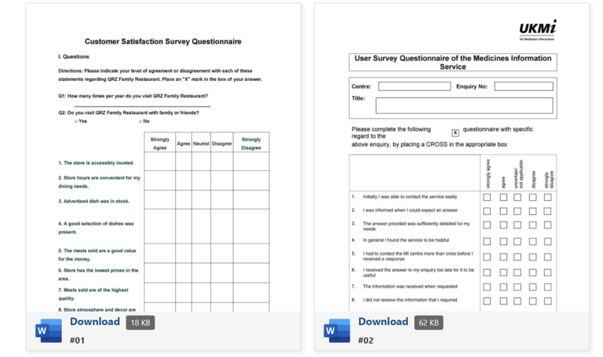 download questionnaire format free