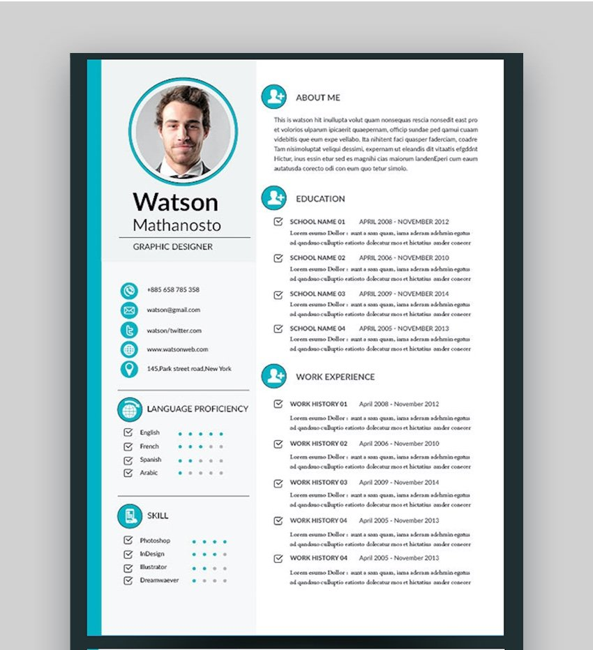 Adobe InDesign CV Resume Templates