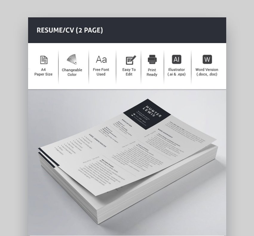 2 Page Resume Template CV Word