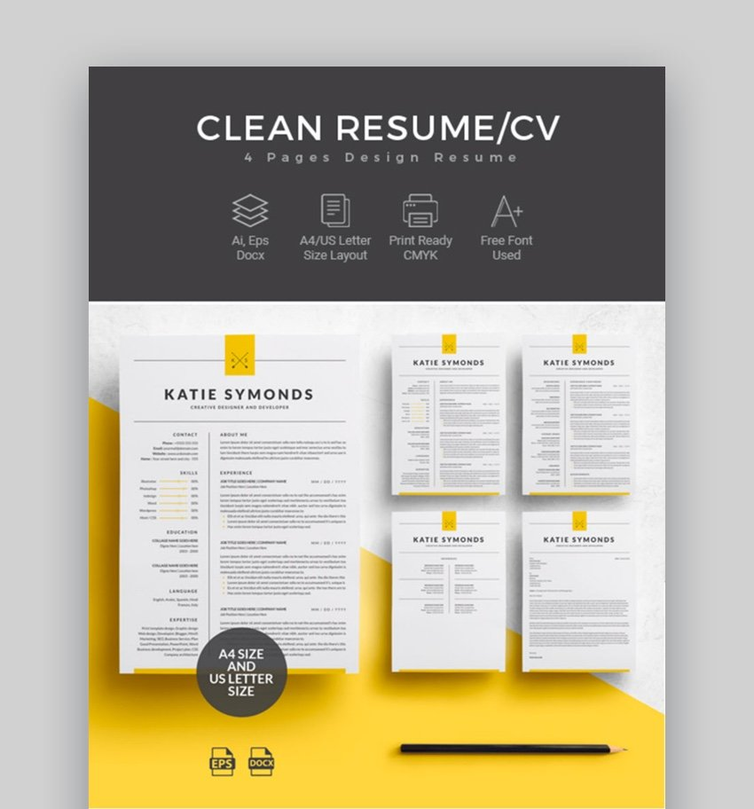 Four Page Resume Template for Microsoft Word