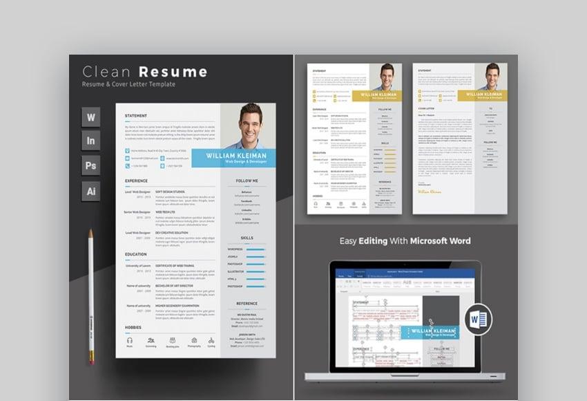 Simple Resume Template MS Word Design