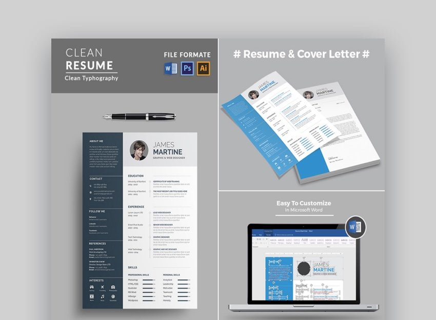 Simple Word Resume Design With Clean Typography