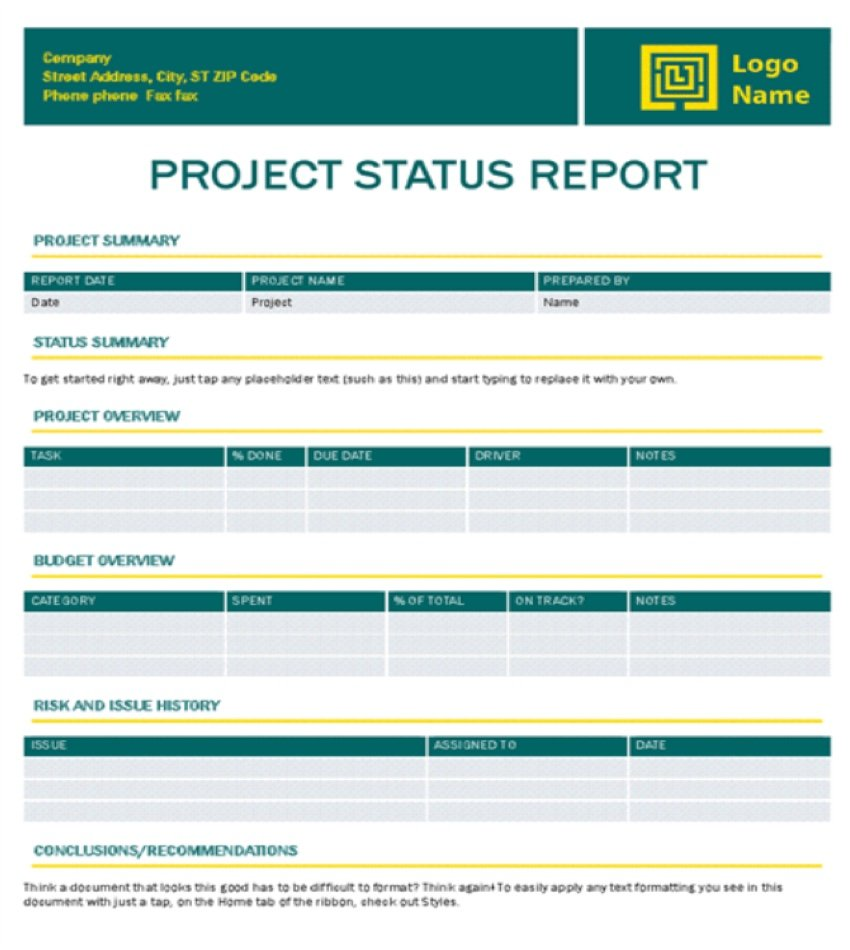 Project Status Report Timeless Design