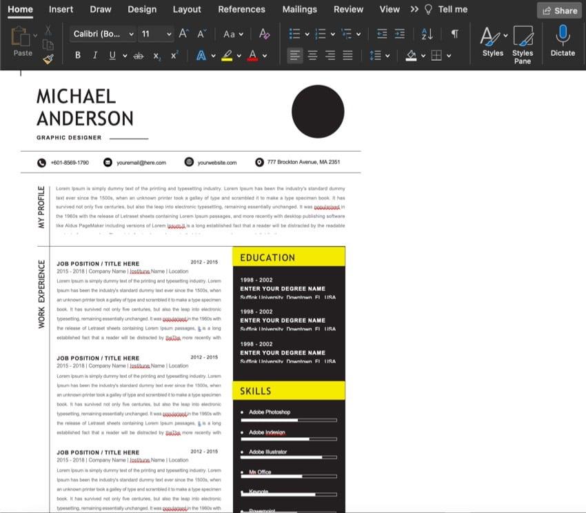 resume with no edits