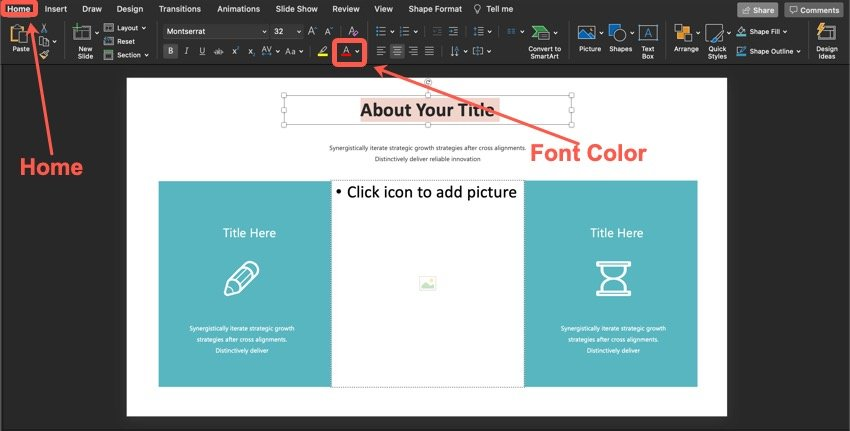 How to change the color of the text.