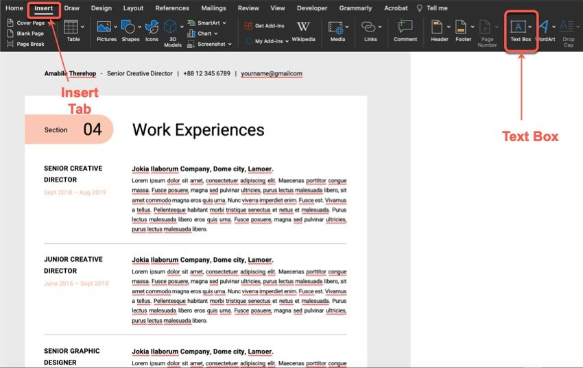 Add new text - resume