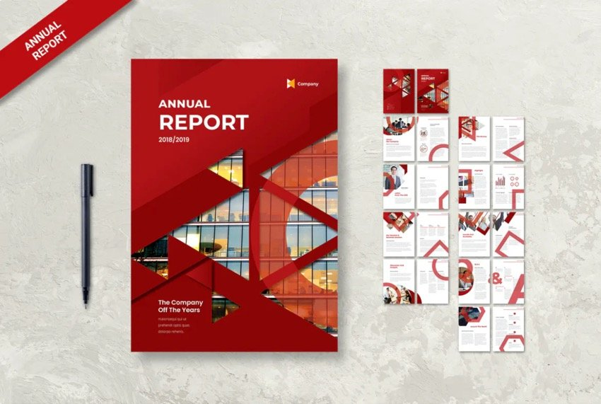 Use geometric shapes in your annual report design.