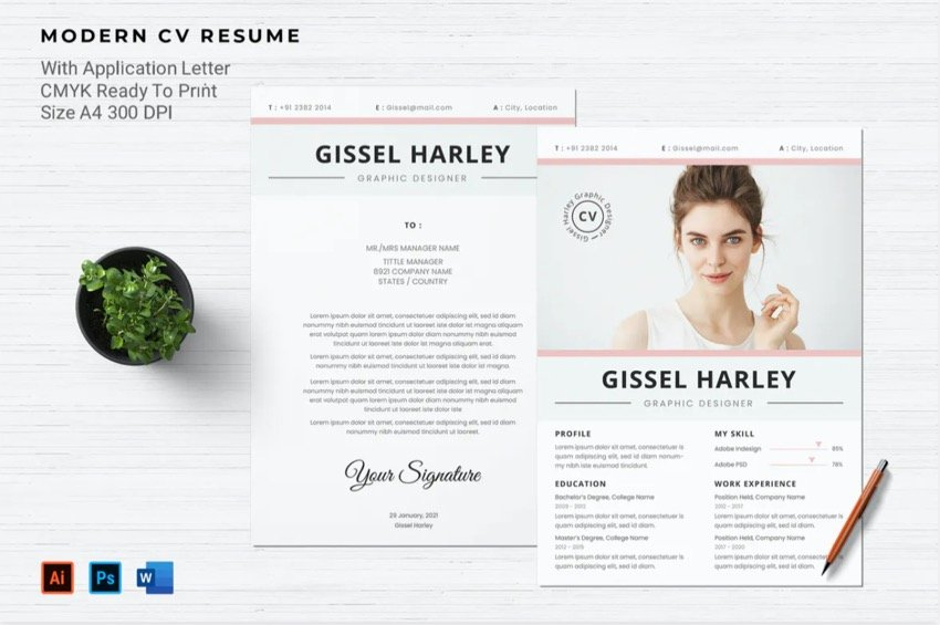 Unique headers make your cover letter standout.
