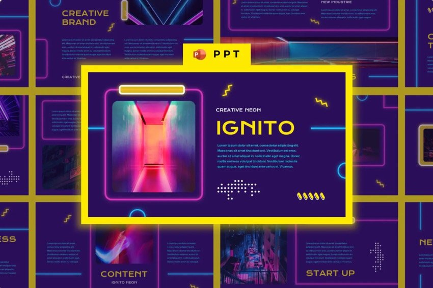 PowerPoint Presentation with a Dark Background and Neon Colors