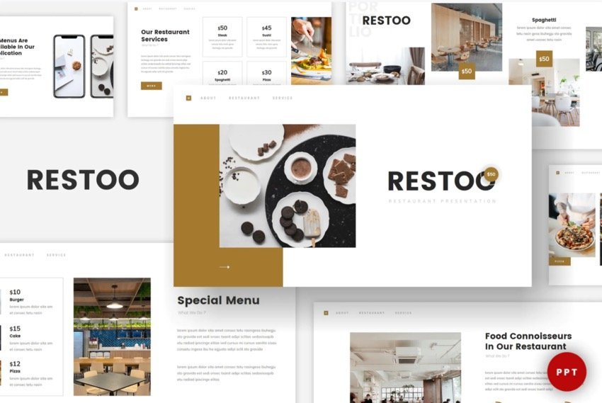 This template is a minimal restaurant PowerPoint template from Envato Elements.