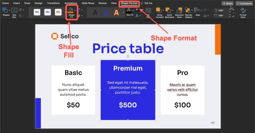 How to change the color of an object on your sales presentation slide.