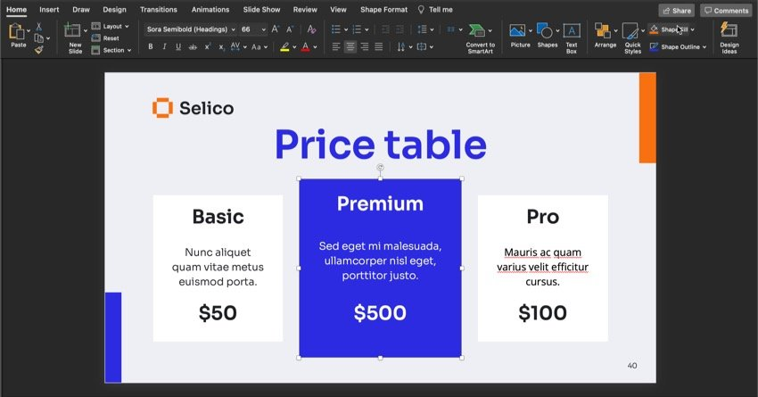 Slide 40 of the premium sales PowerPoint presentation template with no edits.