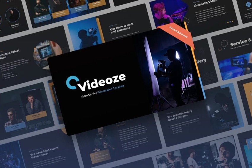 This cinema PowerPoint template has a dark background with neon.