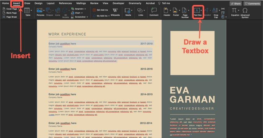Adding your information is an important step of customizing your Microsoft Word Template.