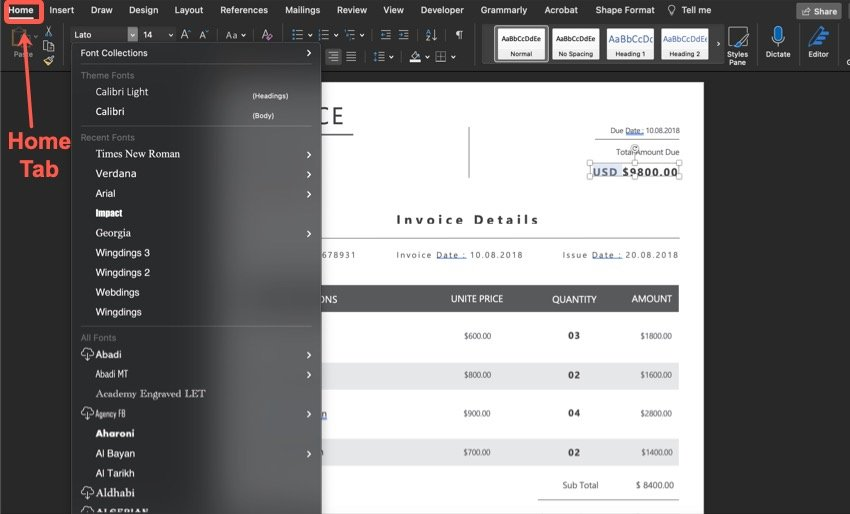 How to change the style of the font on your invoice.