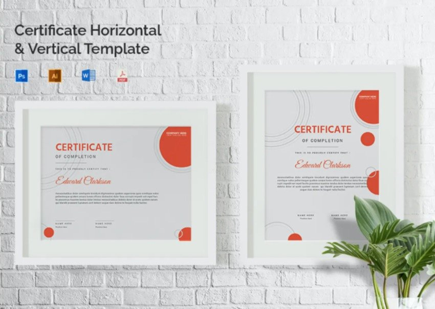 The Edward Clarkson Certificate Template will be used in the tutorial.