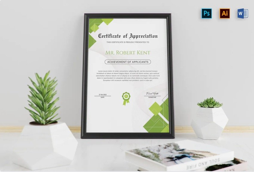 Premium Modern Microsoft Word Certificate Template from Envato Elements.