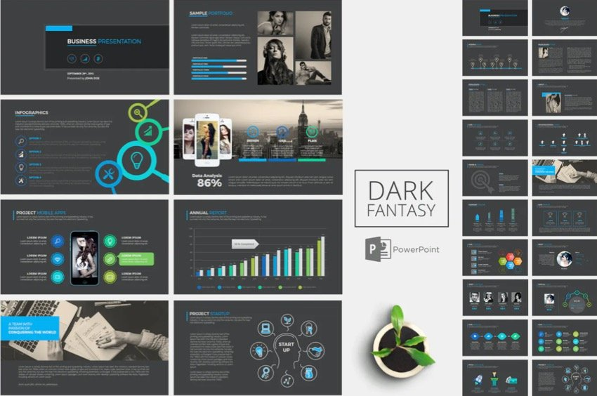 This template that has dark background with neon colors is from Envato Elements.