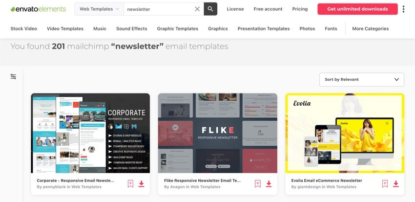 Envato Elements has many email newsletter templates.