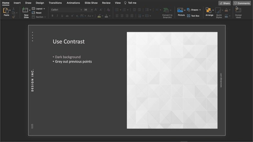 Use contrast to draw the audience eye to your point.