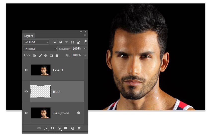 Create a blank layer over the Background