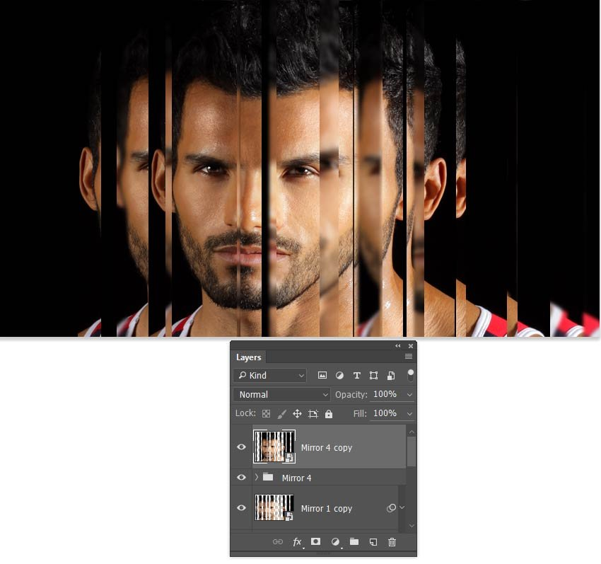 Duplicate the Mirror 4 group and convert to a smart object