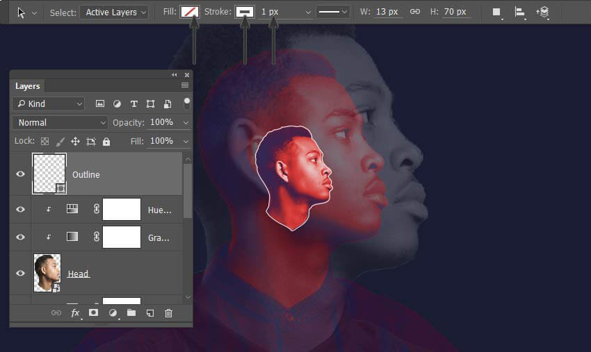 Use the path to create a shape with a 1 px stroke
