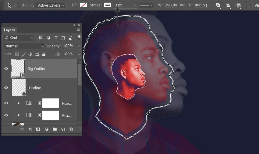 Copy the outline and scale up and increase stroke to 3 px