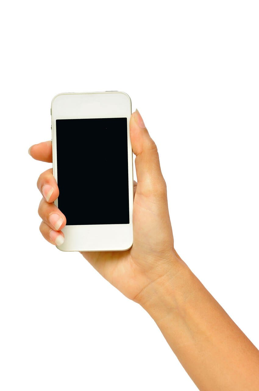 Isolated Hand Holding Smartphone