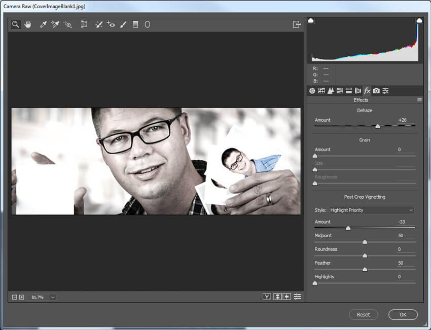 Camera Raw Effects tab settings