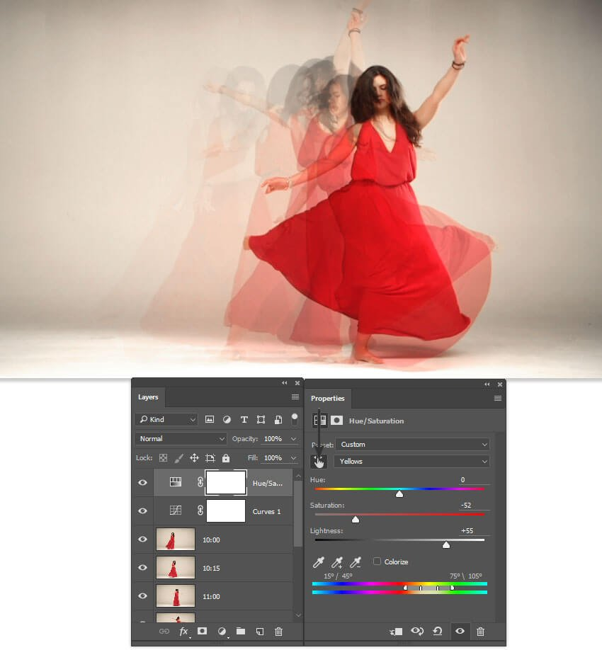 Reduce the saturation of the background with a HueSat adjustment layer