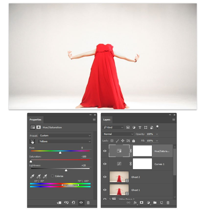 Use a HueSaturation adjustment layer to whiten the background