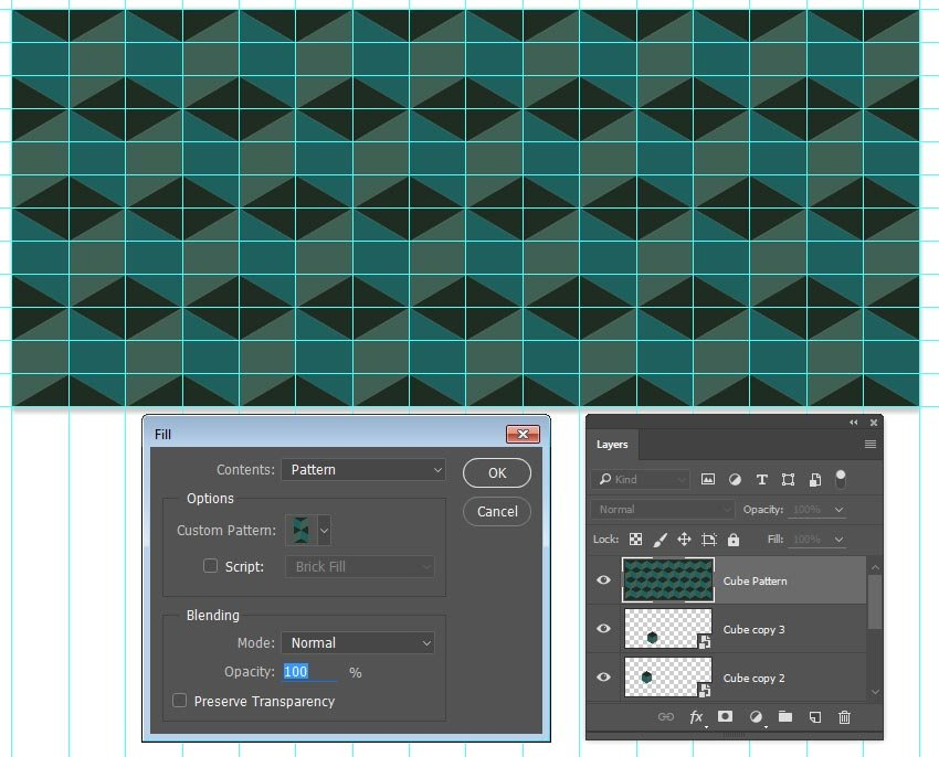 Fill a layer with the cube pattern