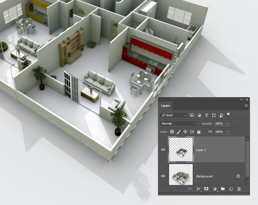 Create a selection of one room of an apartment image