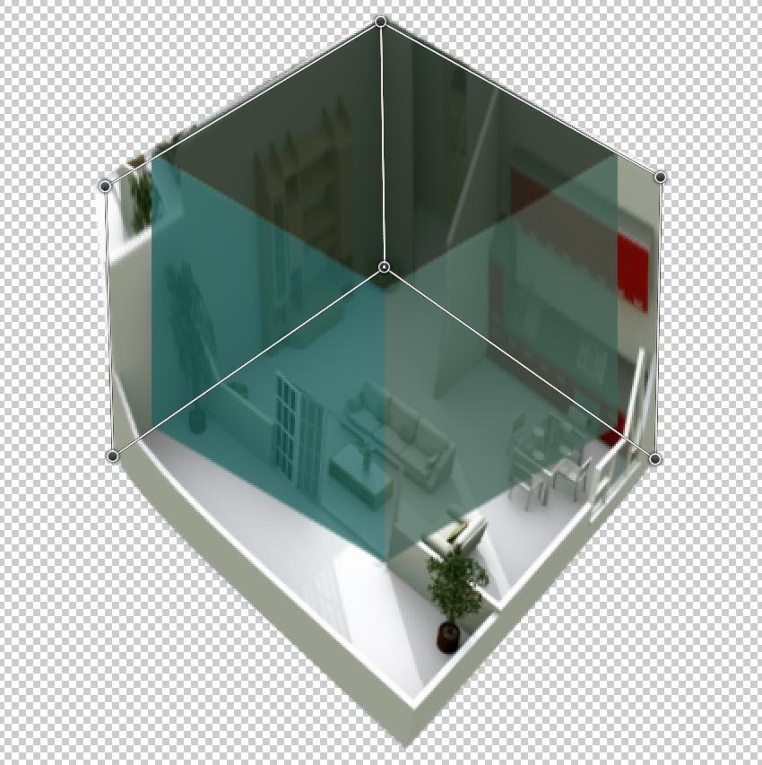 Warp the room image to fit the cube perspective