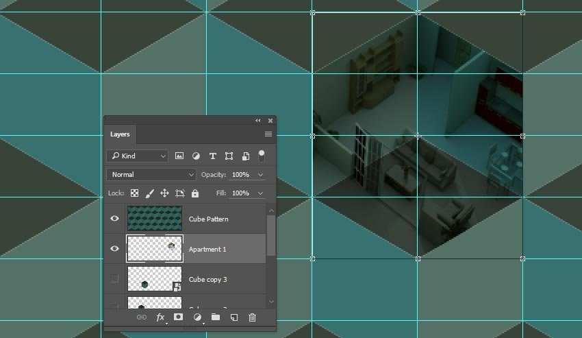 Fit teh room image into a cube shape