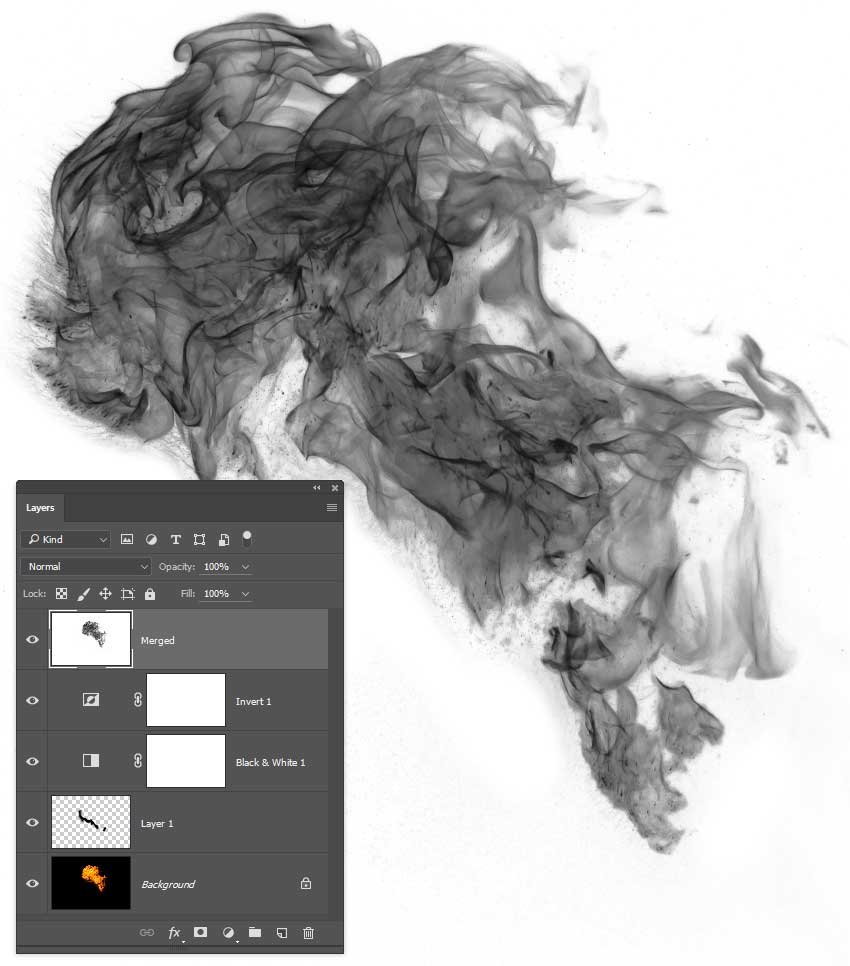 Add an Invert adjustment layer and create a merged layer